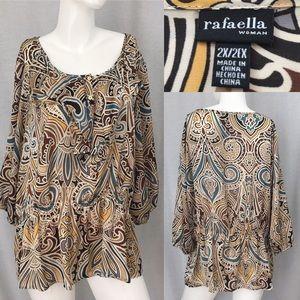 Rafaella Tops - ⭐️Sz 2X Rafaella Scoop Ruffle Neckline Blouse Top