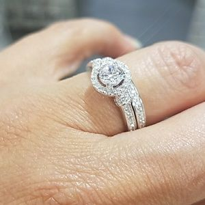Sterling Silver Engagement Ring Wedding Band 2pc