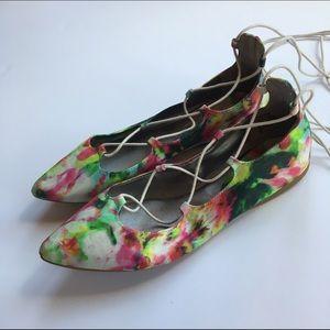 bp Shoes - BP Katrina pointy toe floral lace up flat