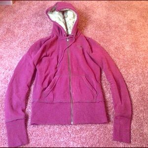 American Eagle Outfitters Jackets & Blazers - Maroon zip up fur hoodie. Great condition!