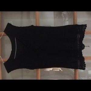 Tape measure black lined crocheted tank sz L