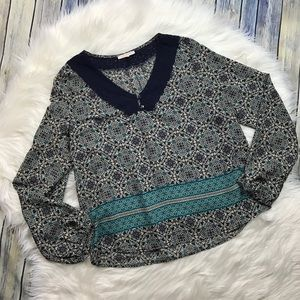 Skies Are Blue Stitch Fix Navy Collar Pattern Top