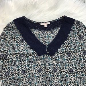 Skies Are Blue Tops - Skies Are Blue Stitch Fix Navy Collar Pattern Top