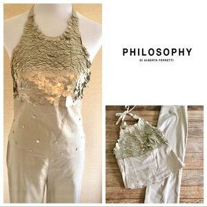 Philosophy di Alberta Ferretti Tops - Philosophy size 6, sequinned top & capri pants.