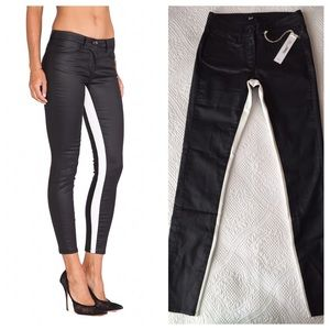 3x1 Denim - 3x1 Black Coated/White Channel Mid-rise Crop Jeans