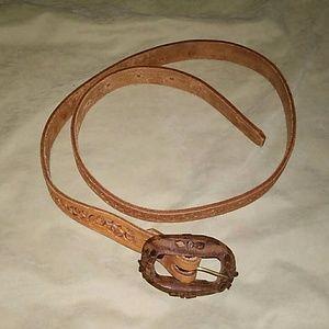 Vintage Leather/Wooden Belt