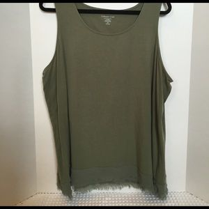 Coldwater Creek Tops - Olive Green Tank with Sheer Hemline