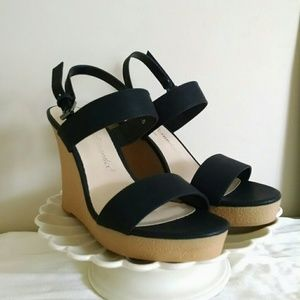 Callisto Shoes - NWOT Black Double Strap Wedges
