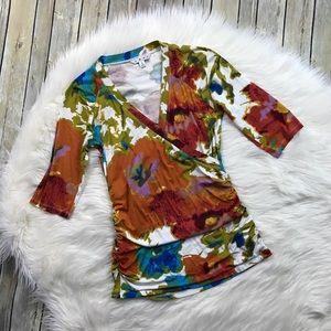 CAbi Watercolor Floral Faux Wrap Surplice Top