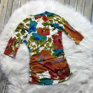 CAbi Tops - CAbi Watercolor Floral Faux Wrap Surplice Top