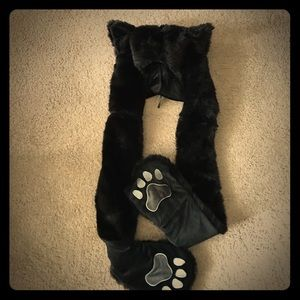 Black Cat Furry Hooded Scarf