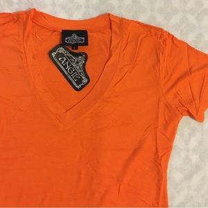 Angie Tops - Angie Orange V-Neck T-Shirt Blouse Top