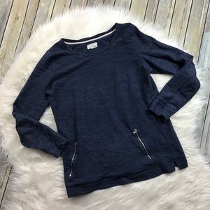 Lou & Grey Navy Zipper Detail Sweatshirt