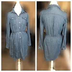 Indigo Rein  Dresses & Skirts - 🏆Lightweight Short Belted Button up Denim Dress