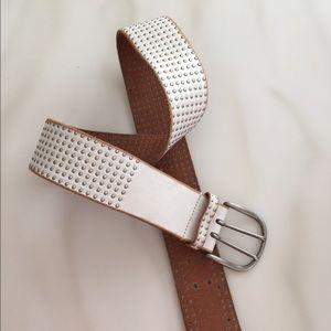 Linea Pelle Accessories - Linea Pelle White leather belt size small