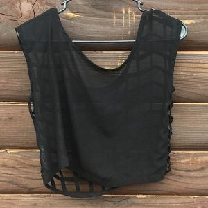 Poof Couture Tops - Poof Couture Sheer Open Grid Back Shell