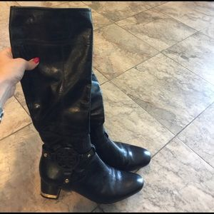 Tory Butch black leather boots