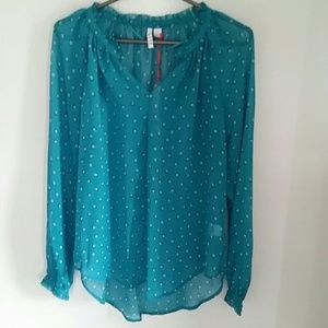 Elle Tops - NWT Elle turquoise polka dots blouse size small