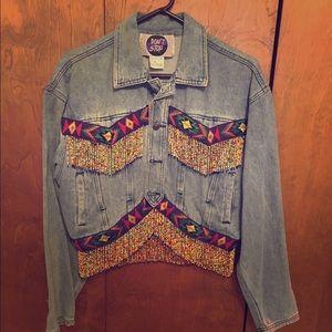 Authentic Original Vintage Style Jackets & Blazers - Vintage denim jacket with beaded fringe and trim