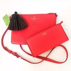 kate spade Handbags - Kate Spade Large Stacy Snap Wallet in Red