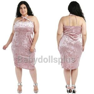 Dresses & Skirts - Plus size pink velvet dress 1x 2x 3x