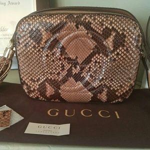 Gucci Handbags - Gucci Soho Disco Crossbody Python Rose Gold Brown