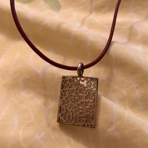 Tous Jewelry - Red leather necklace with sterling silver pendant