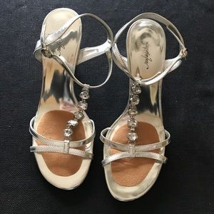Jacqueline Ferrar Shoes - Silver High Heels with Rhinestones!