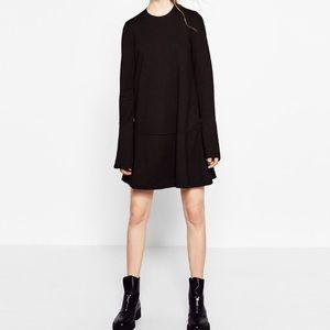 Black frilled Zara dress M