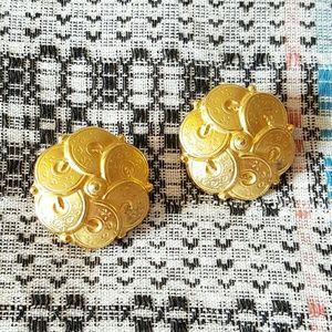 Ben-Amun Jewelry - Ben Amun gold coin button earrings