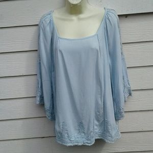 SOLITAIRE Tops - SOLITARE BLUE BOHO TOP WITH CROCHET DETAILS