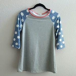 1822 Denim Tops - Polka Dot 3/4 Sleeve Shirt