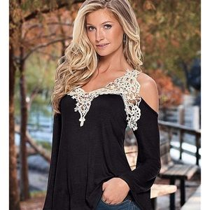 Tops - NWOT! Black with lace cold shoulder top blouse