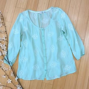 Boden Tops - BODEN mint embroidered top, 6.