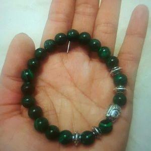 Natural stone beads bangle silver Buddha