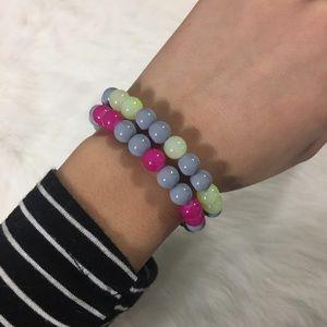 Handmade 2pc natural gemstone bracelets