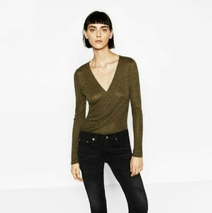 NWT Zara Crossover bodysuit olive green m medium