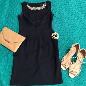 connected apparel Dresses & Skirts - Navy dress with embellishment faux pearls