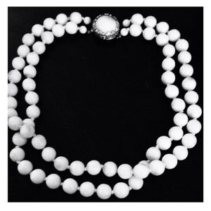 Vintage Necklace, Double Strand White Glass Beads