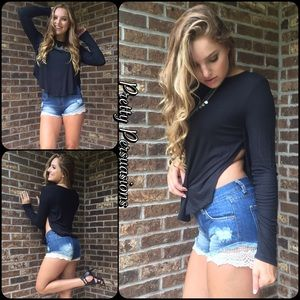 Pretty Persuasions Pants - Lace Crochet Embellished Distressed Denim Shorts