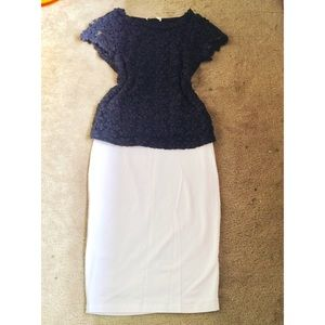 Oasis Tops - Navy Blue Lace Blouse Top