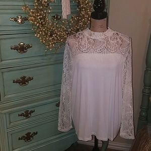 Joseph Allen Tops - 🆕💕GORGEOUS LACE & KNIT HIGH NECK TOP