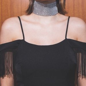 Fringed Cold Shoulder Mini