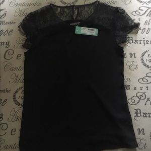 Brixton Tops - Black Stitch Fix Short Sleeve Top with Lace Detail