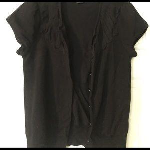 Saks Fifth Avenue Short-Sleeved Black Sweater
