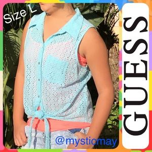 Guess Tops - GUESS Blue Eyelet Lace Sleeveless Tie-Front Top