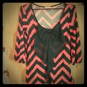 Luxe Essentials Apparel Tops - Luxe Size L So Cute Chevron Office Lolita Top