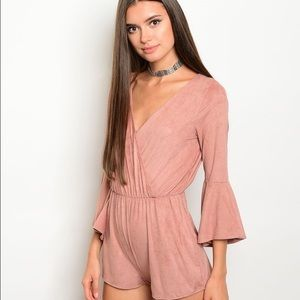 Other - NEW! Mauve Suede Bell Sleeve Romper