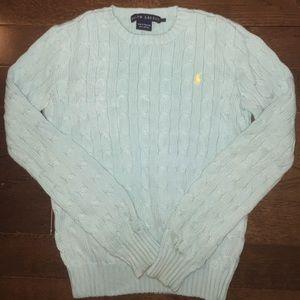 RALPH LAUREN cable crew sweater in aqua blue