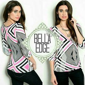 Bella Edge Tops - Black white pink geometric print vneck blouse